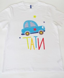 father shirt blue car