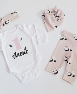 бебешки панталонки и боди за първи рожден ден