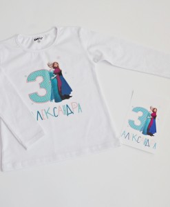блузка за рожден ден с елза и ана