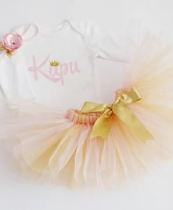 Комплект за момиче с име в розово и златно