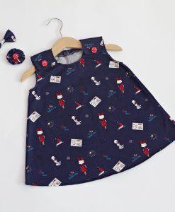 детска дънкова рокля със щампи