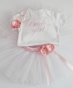 блуза и пола за шаферка в бяло и розово