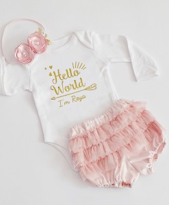 бебешки комплект в златно и розово