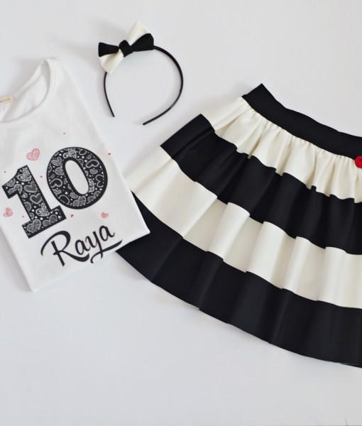 блуза и пола черно и бяло