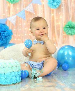 комплект бебешки панталонки и папионка в синьо