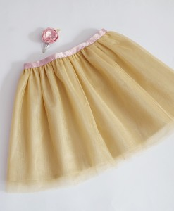 детска пола от тюл в златно и розово