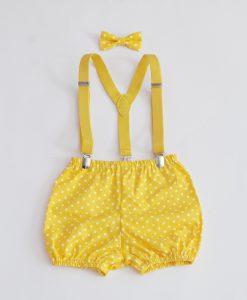бебешки комплект панталонки тиранти и папионка в жълто