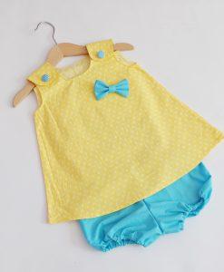 бебешки комплект туника и панталонки жълто и синьо