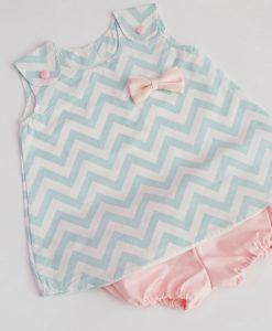комплект туника и панталонки в мента и розово