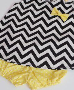 летен комплект за момиченце в жълто и черно