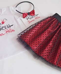 коледен комплект от блузка и пола в червено и черно
