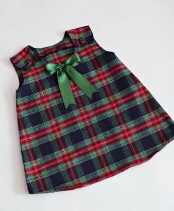 Детска коледна рокля в шотландско каре,бебешка коледна рокля за фототесия