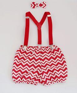 коледни бебешки панталонки шеврон цервено и бяло