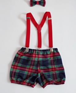 бебешки коледни панталонки в шотландско каре