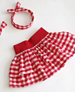 детска карирана пола червено и бяло