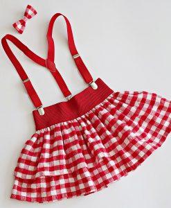 детска коледна пола червено и бяло каре
