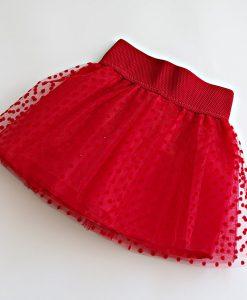 детска червена пола от тюл