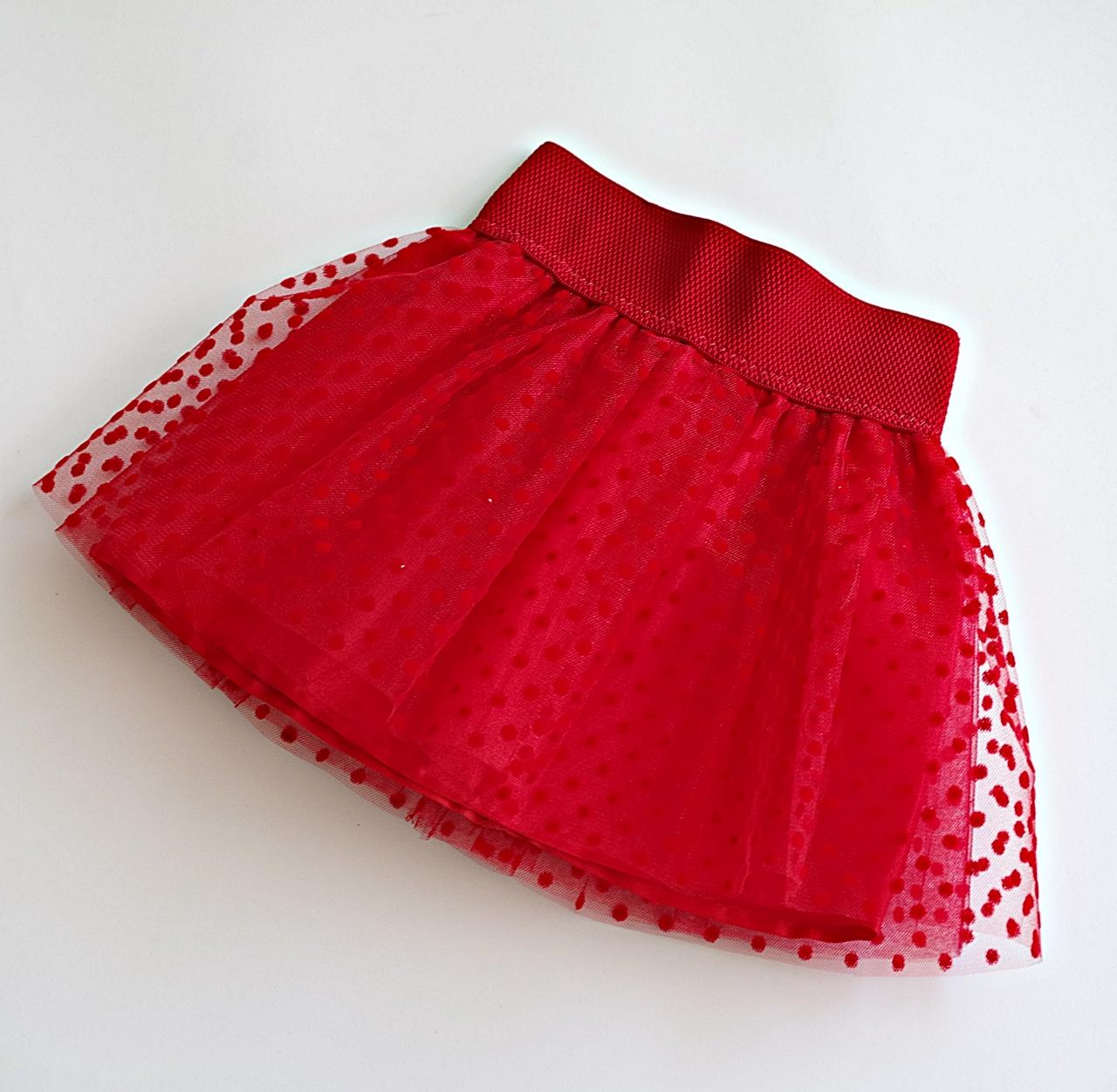 5d526849837 Детска червена пола от тюл на точки - Точки и Райета