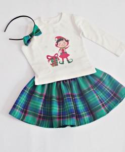 коледен комплект пола и блуза Каре