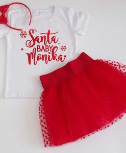 коледен комплект с пола и блуза в червено