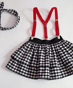 детска пола черно и бяло каре