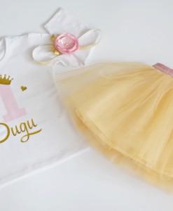 персонализиран комплект за рожден ден в розово и златно