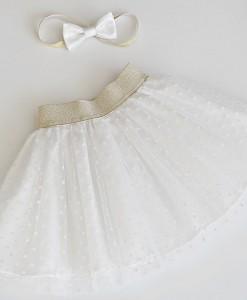 Детска бяла пола от тюл