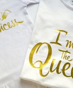 Комплект тениски за майка и дъщеря в златно