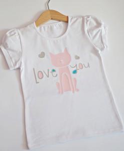 Детска блузка с коте и надпис