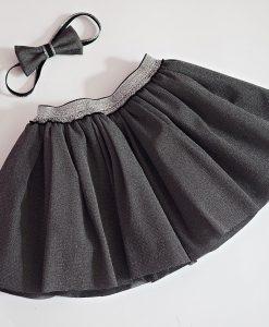 Детска пола от тюл в сиво и сребро