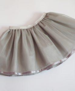 Детска пола от тюл в сиво