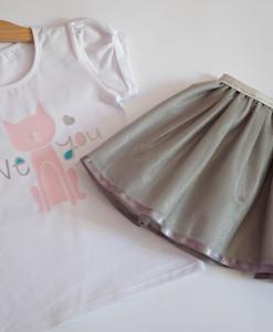 Комплект от пола и блузка с коте в розово и сиво