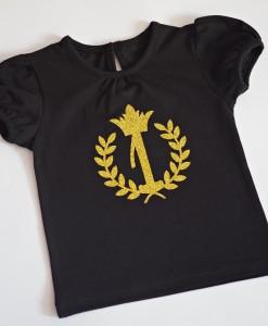 блузка за първи рожден ден в черно и златно