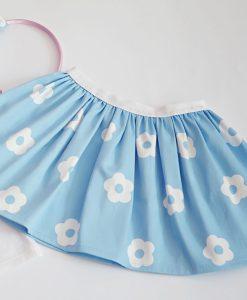 Детска светло синя пола на цветя
