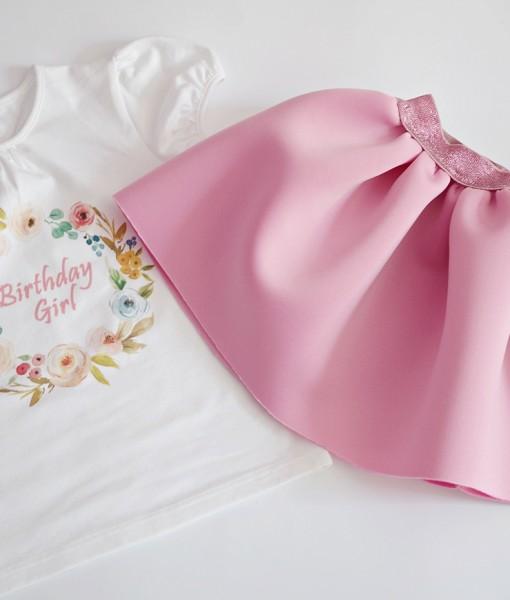 Комплект за момиче в розово на цветя