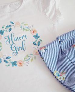 Летен комплект за момиче с цветя в синьо