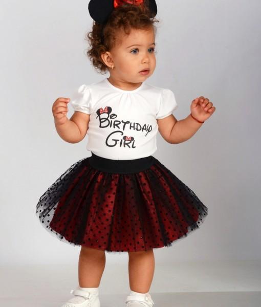 Комплект за рожден ден с мини маус и надпис Birthday Girl