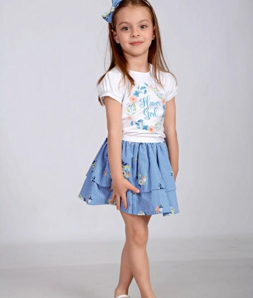 Летен комплект за момиче на сини цветя