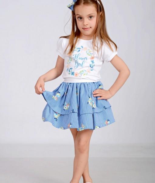 Комплект от пола и блузка на цветя в синьо