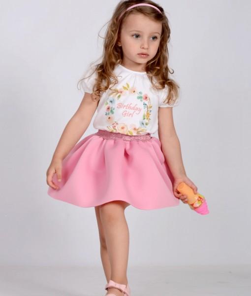 детска розова пола от неопрен