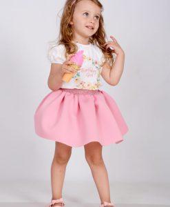 Детска пола и блуза на цветя в розово