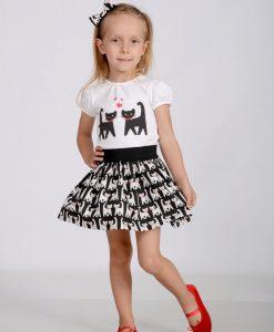Детски комплект Котки в червено и черно