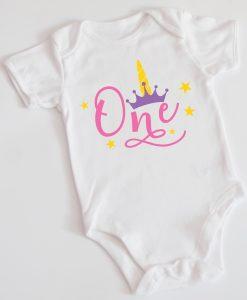 Детско боди или блуза за рожден ден с еднорог