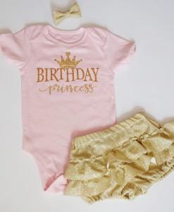Бебешки комплект за рожден ден в златно и розово