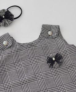 Детска рокля черно и бяло каре