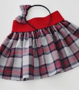 Детска пола каре в червено и сиво