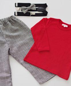 бебешки панталон,блузка и тиранти червено и черно