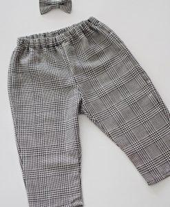 Бебешки панталон с папионка Каре черно и бяло
