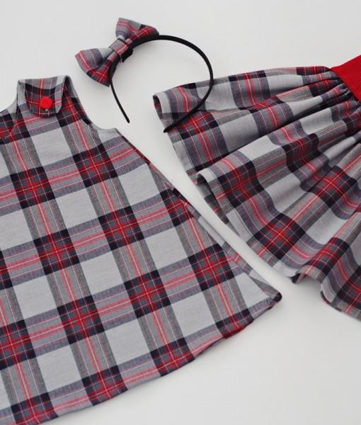 детска рокля и пола сиво и червено каре