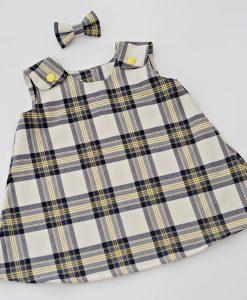 Детска рокля Каре сиво и жълто